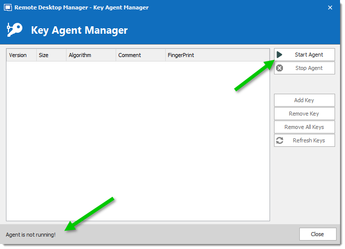 Key Agent Manager - Start Agent