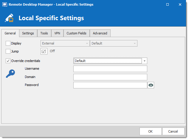 User Specific Settings