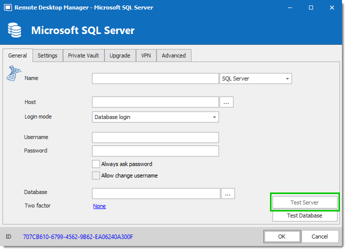 SQL Server - Connection Tab