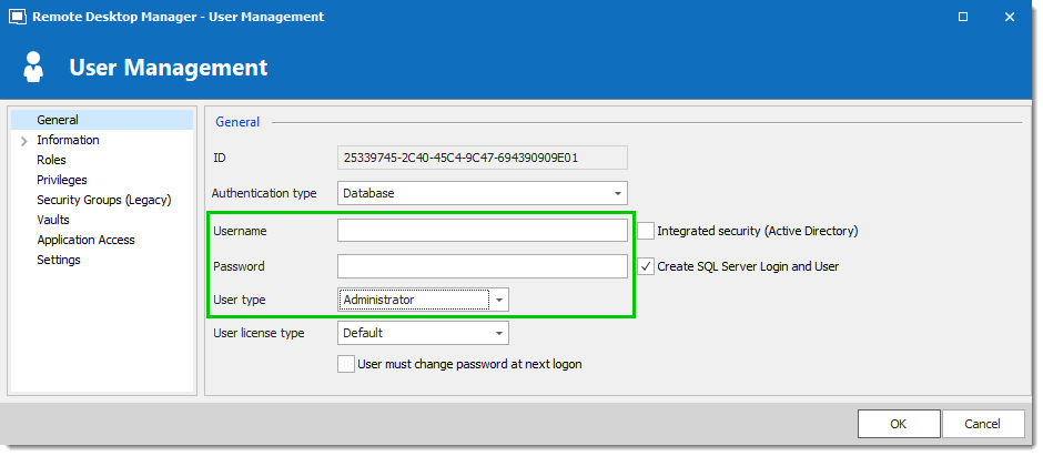 Create a Remote Desktop Manager Administrator Account