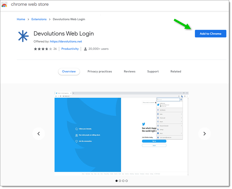 Devolutions Web Login Chrome Web Store