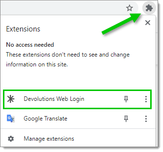 Devolutions Web Login Extension Button